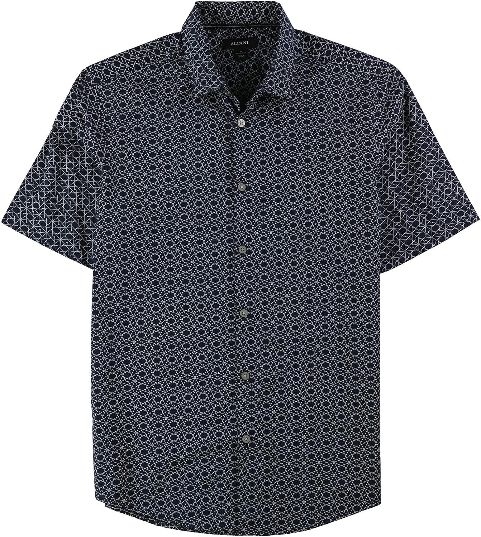 Alfani Mens Zig-Zag Button Up Shirt