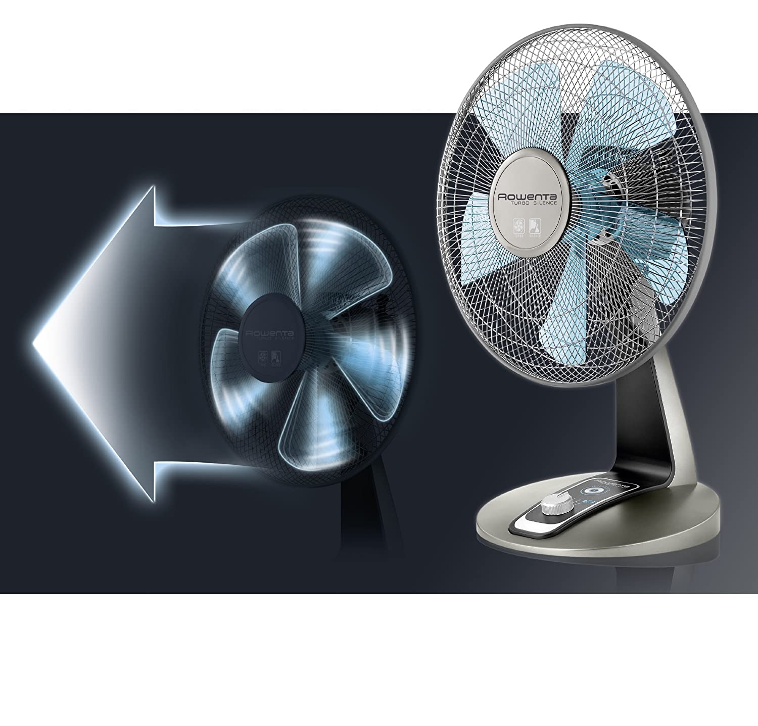 Amazon.com: Rowenta VU2531 Turbo Silence Oscillating 12-Inch Table Fan Powerful and Quiet, 4-Speed, Bronze (Certified Refurbished): Home & Kitchen