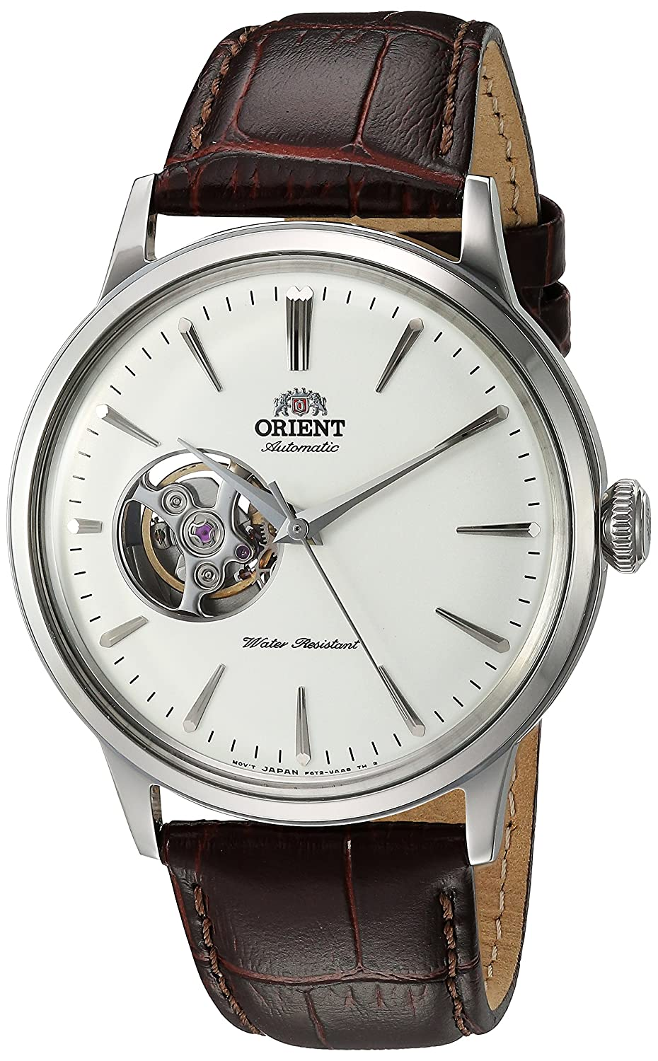 Orient Men 's ' Bambinoオープンハート' Japanese AutomaticステンレススチールandレザーDress Watch, Color : Brown (Model : ra-ag0002s10 a) B07B4C7ZP4