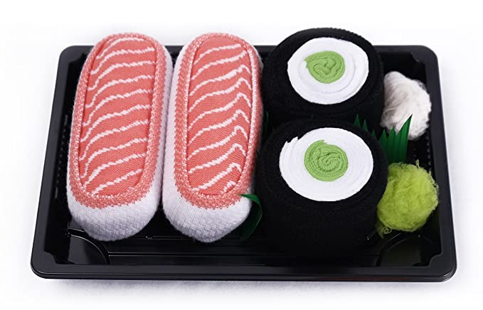 Sushi caja de calcetines - 2 pares - salmón, Maki pepino talla UK 7 - 11, EUR 41 - 46: Amazon.es: Ropa y accesorios