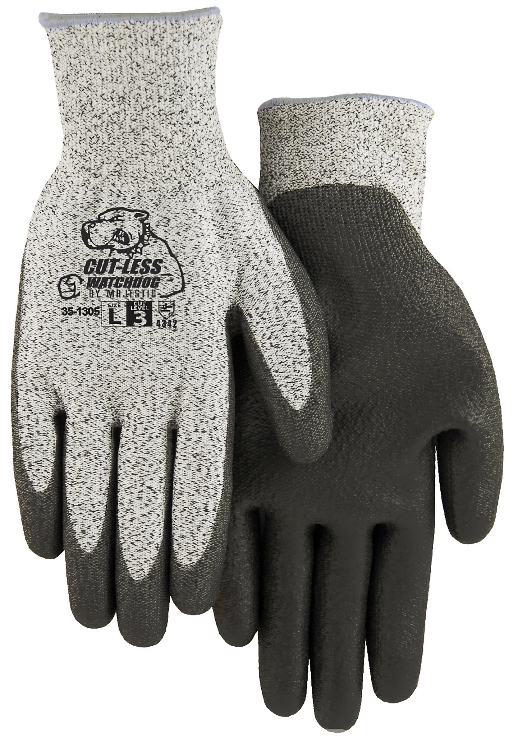 Majestic Glove 35-1305/M HPPE Knit with Gray Polyurethane Palm, CE3, ANSI2, Medium (Pack of 12)