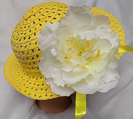 EASTER BONNET WHITE EASTER HAT BOUTIQUE GIRLS PINK ROSE NEW SHIPS FREE TO USA!