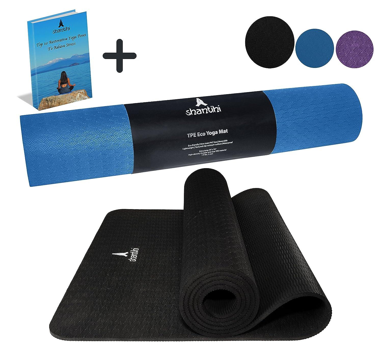 badd9e6524 Amazon.com   Shantihi Yoga Mat - Thick Eco Friendly Premium TPE Yoga ...