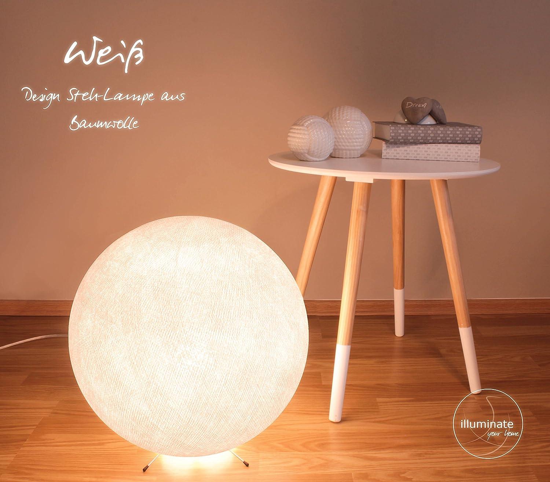 Handgearbeitete Stehlampe aus Baumwolle mit einem Durchmesser von 35cm - weiß, innen