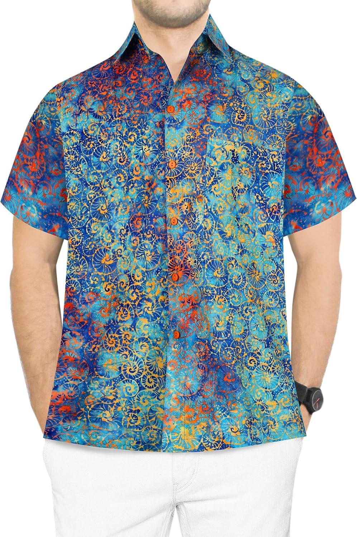 LA LEELA Everyday Essentials Casual Cotton Tropical Hawaiian Mens Shirt AS