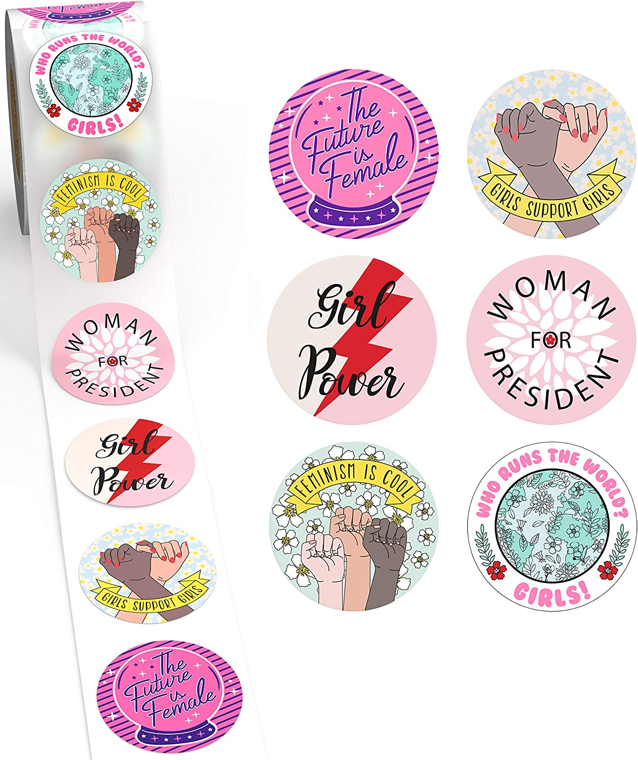 "Camp Galaxy 2"" Feminist Stickers Girl Power Sticker Pack (600 Per Roll) 