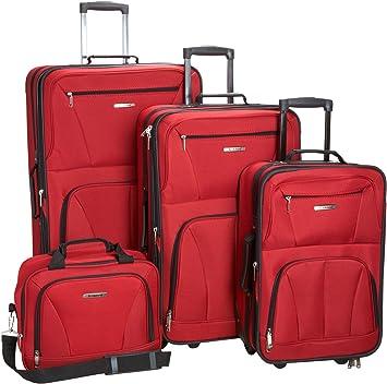 Limitado Sala Pasado  Amazon.com: Rockland juego de 4 piezas de valijas con ruedas y bolsas para  viaje, Rojo), F32-RED