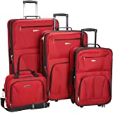 Rockland Journey Softside Upright Luggage Set, Red, 4-Piece (14/19/24/28)