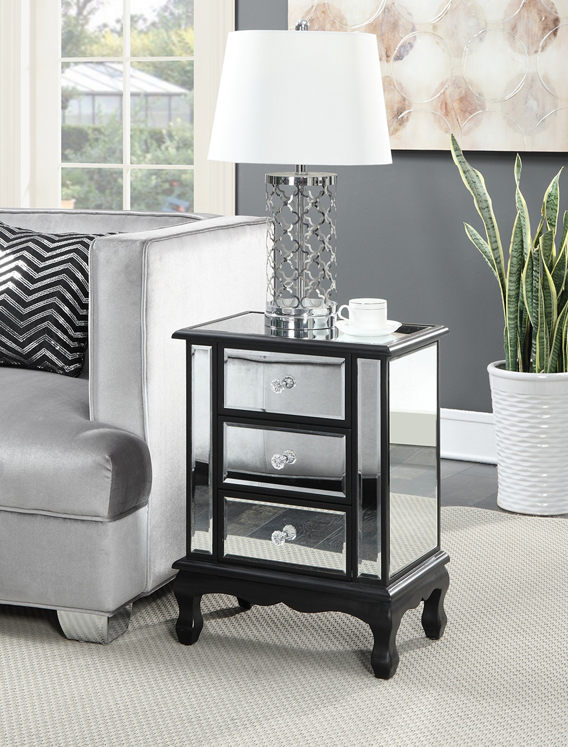Convenience Concepts Gold Coast Vineyard 3 Drawer Mirrored End Table, Black