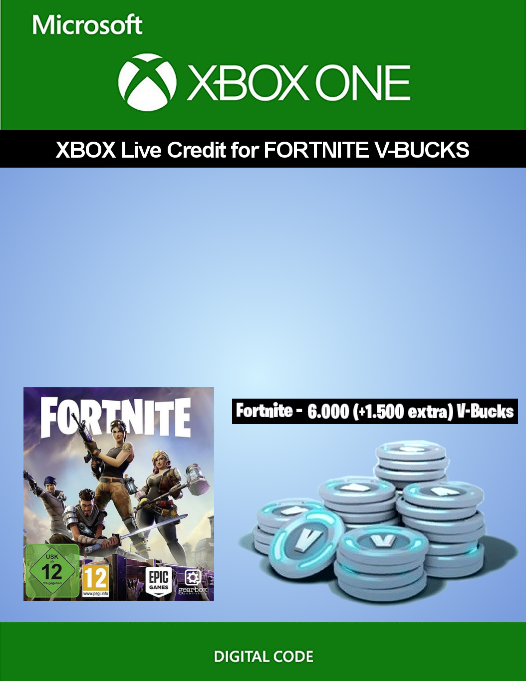 Xbox Live credit for Fortnite - 6 000 V-Bucks + 1 500 extra