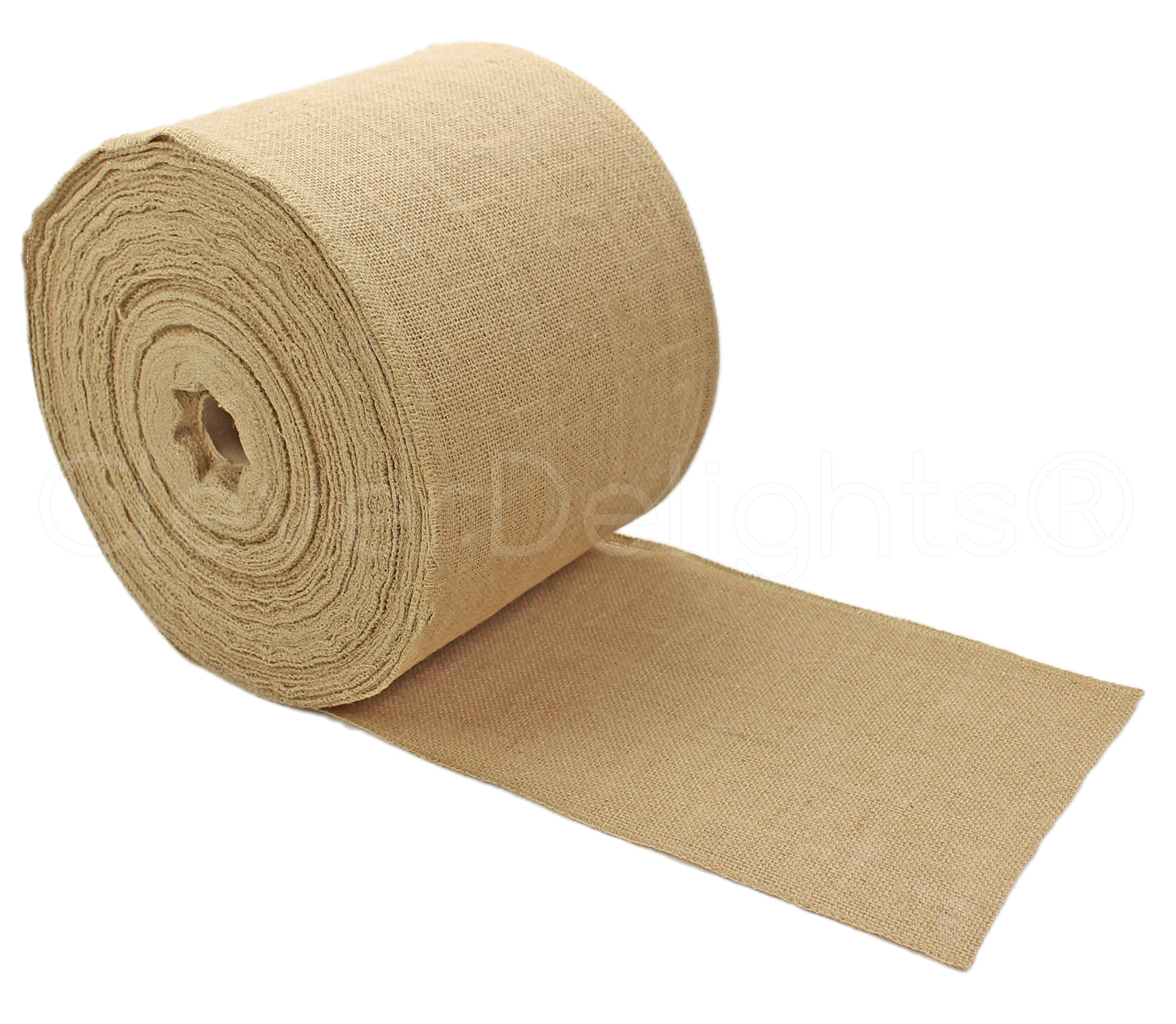CleverDelights 9'' Premium Burlap Roll - 100 Yards - No-Fray Finished Edges - Natural Jute Burlap Fabric
