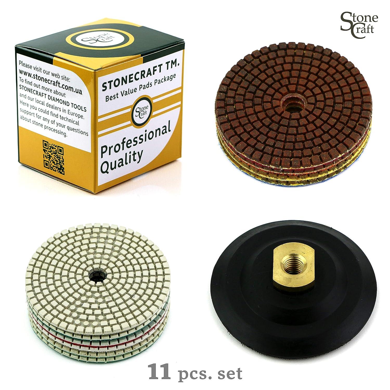 Diamante Almohadilla de Pulido Set de 11 discos para pulir con cojinete metá lico de Stonecraft | 100 mm | Granito, má rmol, piedra y hormigó n mármol piedra y hormigón