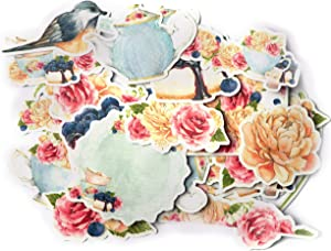 Navy Peony Classy Tea Party Stickers and Decals (31 Pieces) | Blue Food and Flower Stickers for Water Bottles | Cute Stickers for Scrapbooks and Bullet Journals | Waterproof Stickers for Laptops