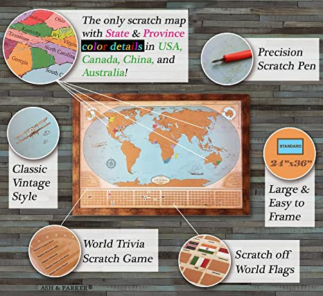 Amazon ash parker scratch off world map vintage deluxe amazon ash parker scratch off world map vintage deluxe states provinces for us canada australia xl large poster 24x36 easy to frame gumiabroncs Choice Image