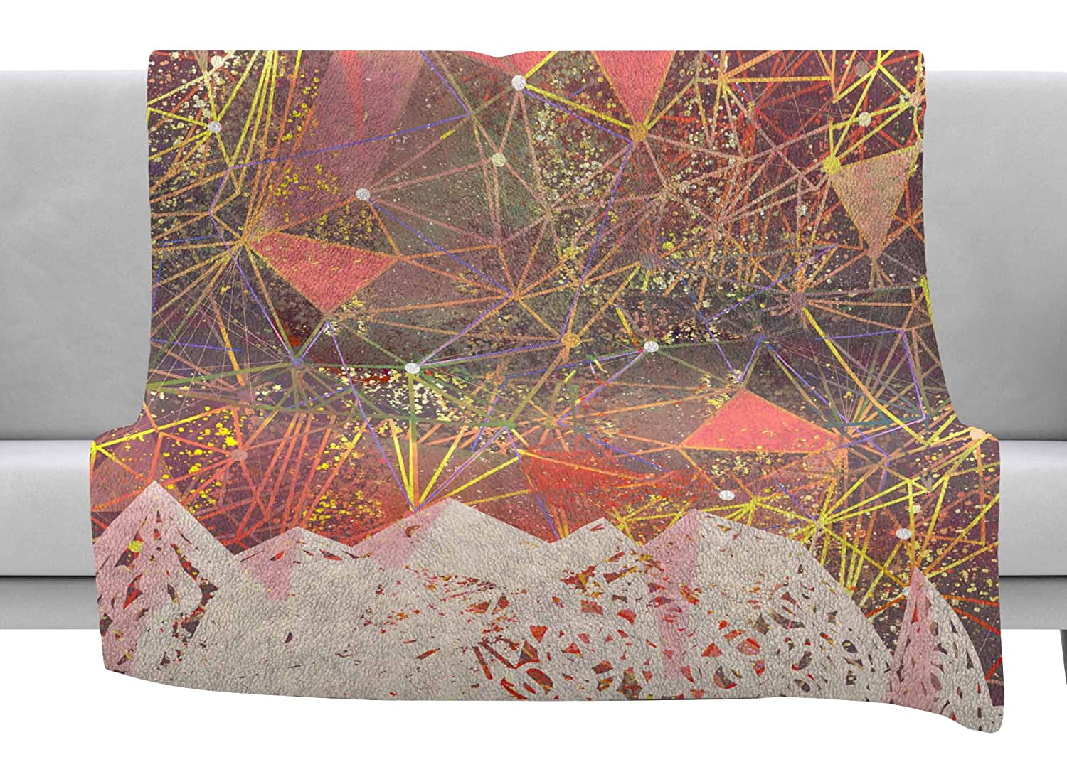 Kess InHouse Marianna Tankelevich Pink Space Mountain Multicolor Coral Mixed Media Throw 80 x 60 Fleece Blanket