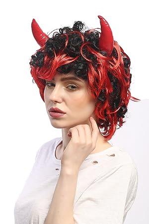 WIG ME UP ® - 4045-P103-13 Peluca Carnaval Halloween Mujer Hombre Diablo