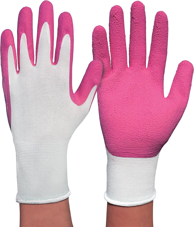 Gr/ö/ße S weicher Strick aus Bambus-Viskosefasern 1 Paar Spontex Lady Garden Handschuhe mit Latexbesch/äumung Gartenhandschuhe f/ür Damen