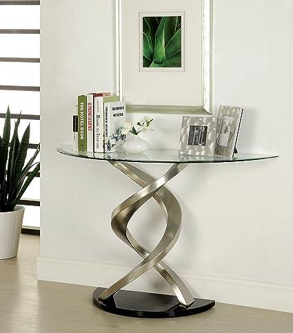 Furniture Of America Kalliope Modern Sofa Table, Metallic Finish