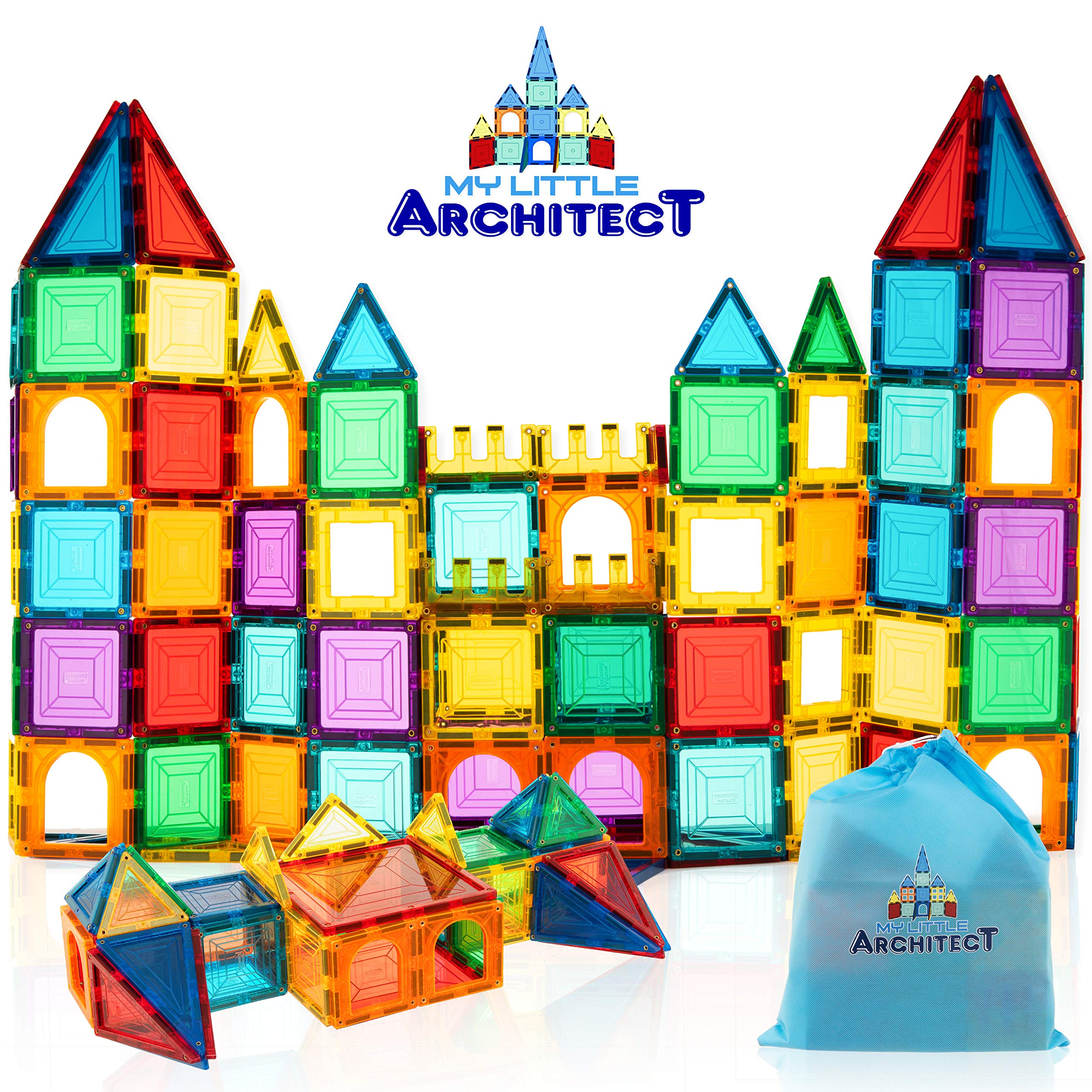 My Little Architect, Magnetic Tiles for Kids, 60-Piece 3D Magnet Block Building Set Educational Construction Toy, Best Gift for Boys and Girls 3-Years Old and up, Bonus Stylish Carrying Bag. by My Little Architect