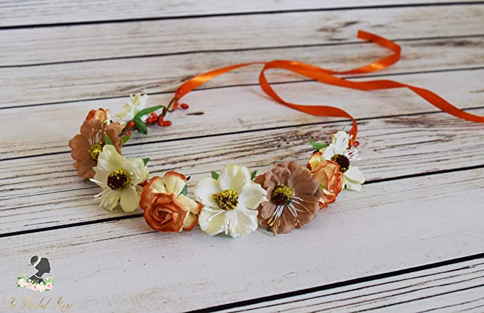 Fall Flower Crown - Orange Tan Ivory Hair Wreath - Boho Flower Crown - Wild Flower  Crown - Autumn Headband - Adult Flower Crown -Oktoberfest Flower Crown a2fa8f8491e