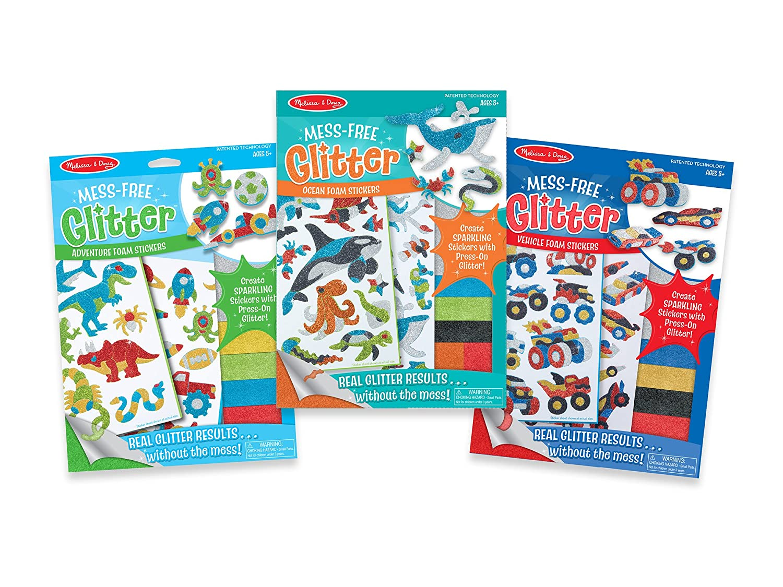 Melissa /& Doug Mess-Free Glitter Foam Sticker Activity Kits Set and Adventure Melissa and Doug 93256 Ocean Vehicles