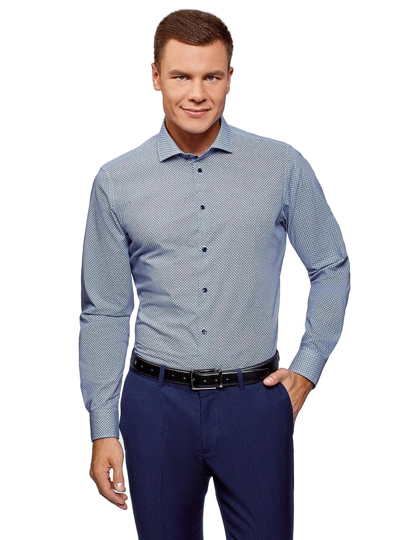 TALLA сm 40 / ES 48 / S. oodji Ultra Hombre Camisa de Algodón con Decoración Gráfica Pequeña