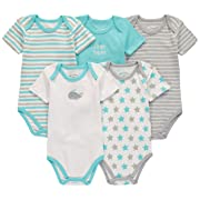 Wan-A-Beez 5 Pack Baby Girls' and Boys' Newborn and Infant Cotton Short Sleeve Bodysuits (3-6 Months, Whale)