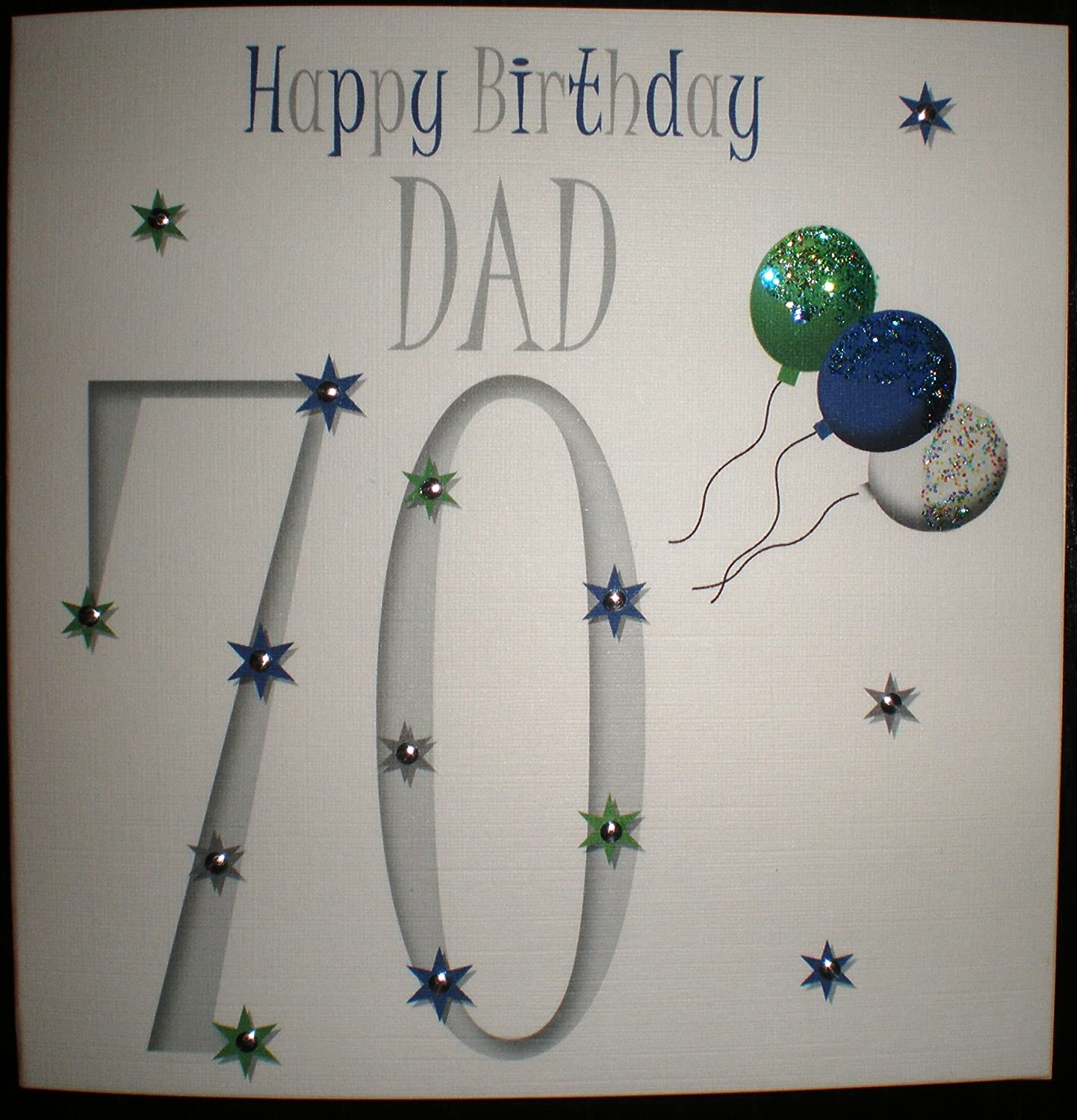 Happy Birthday Card Dad 70th Birthday in Blue Green & Silver