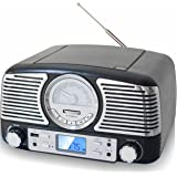 TechPlay QT62BT Black, Retro design compact stereo CD, with AM/FM rotary knob, Wireless Bluetooth reception, SD and USB ports. With AUX in and headphone jack (black)