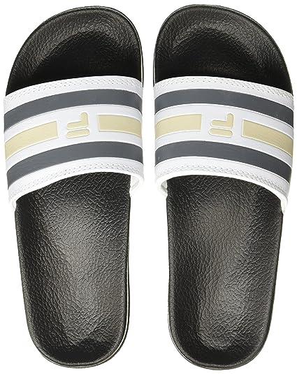 63cc0fc4e Fila Men s Fl Slide II White Dark Grey Beige Flip Flops Thong Sandals -