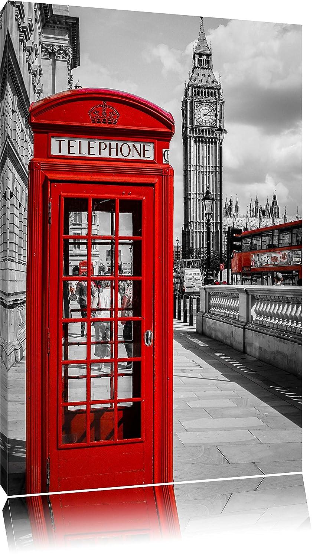 Klassische rote Telefonzelle London Format: 120x80 auf Leinwand, XXL ...