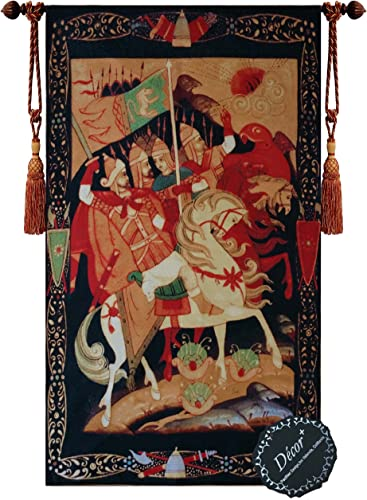 Beautiful Knights of Crusade Fine Tapestry Jacquard Woven Wall Hanging Art Decor