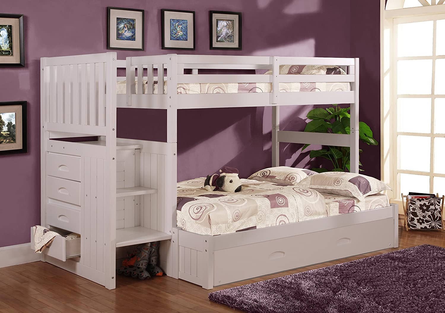 Twin over full bunk bed with stairs and trundle - Amazon Com Twin Over Full Stair Stepper Bed With Trundle In White Finish Kitchen Dining