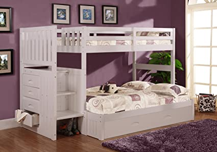 Disery World Furniture Twin Over Full Stair Stepper Bed With Trundle In White Finish