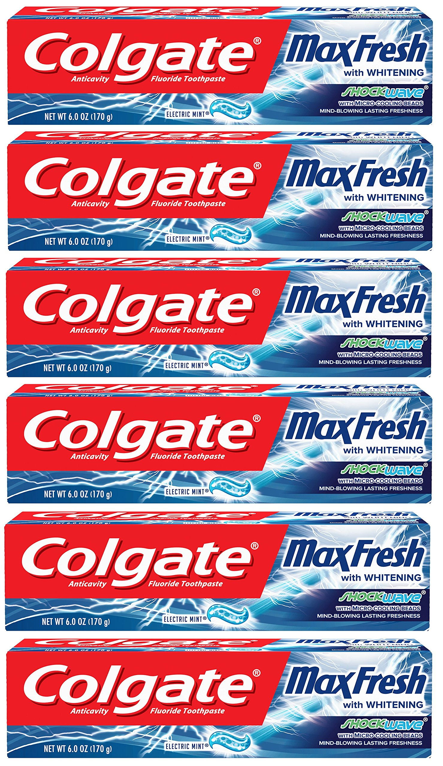 Colgate Max Fresh Shockwave Toothpaste with Cooling Beads, Mint - 6 ounce (6 pack)