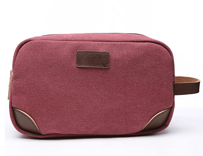 Vercord Classic Canvas Leather Travel Dopp Kit Shaving Toiletry Cosmetic  Kit Bag Red 23bee73583