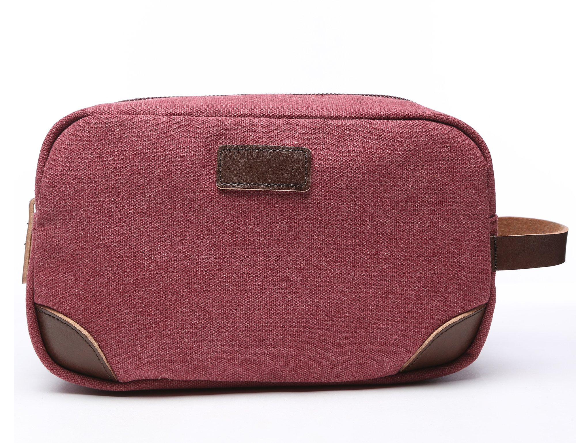 Vercord Classic Canvas Leather Travel Dopp Kit Shaving Toiletry Cosmetic Kit Bag Red
