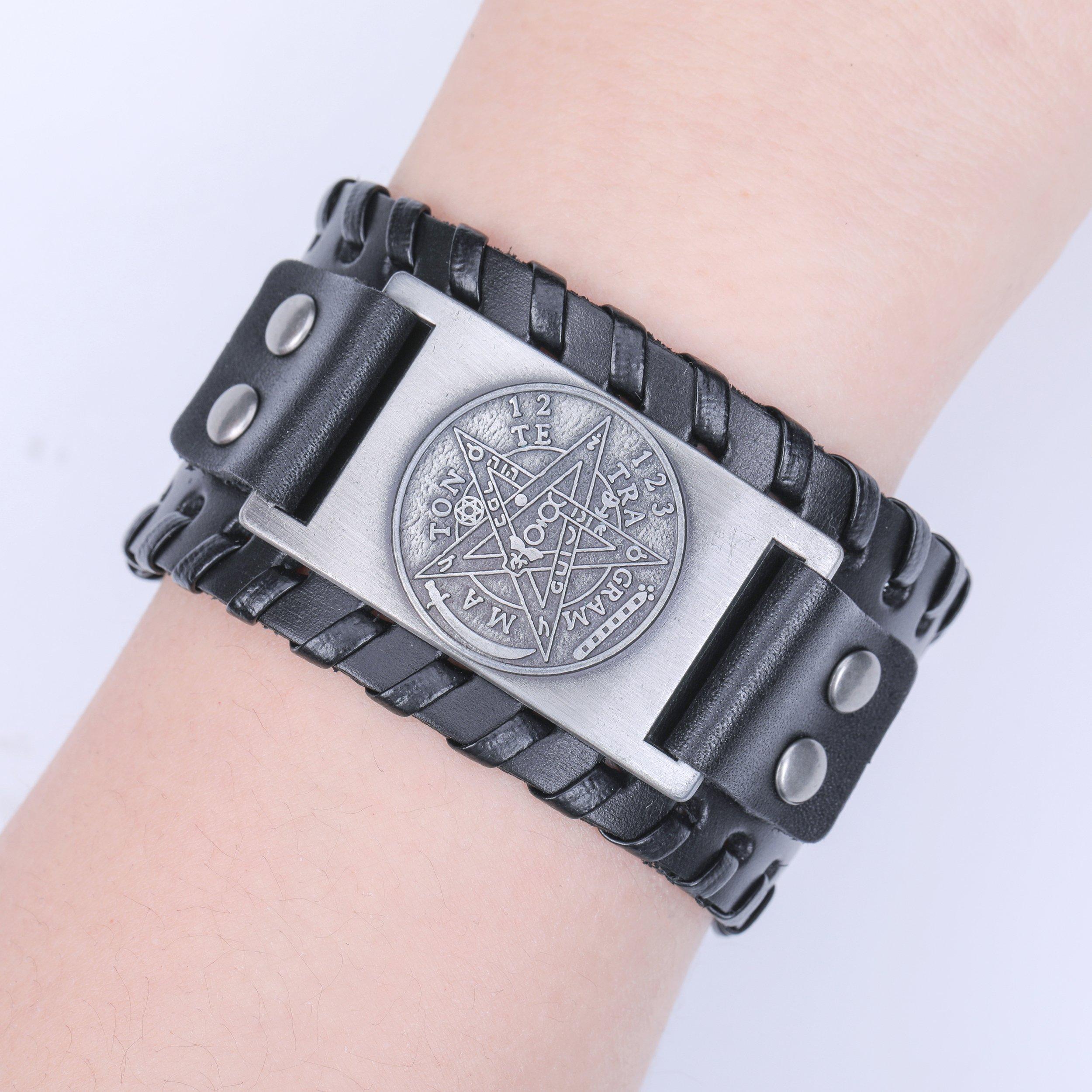 Pagan Viking Tetragrammaton Pentacle Symbol Talisman for Love Braided Wide Leather Wristband Bracelet (Antique Silver,Black) by Skyrim (Image #5)