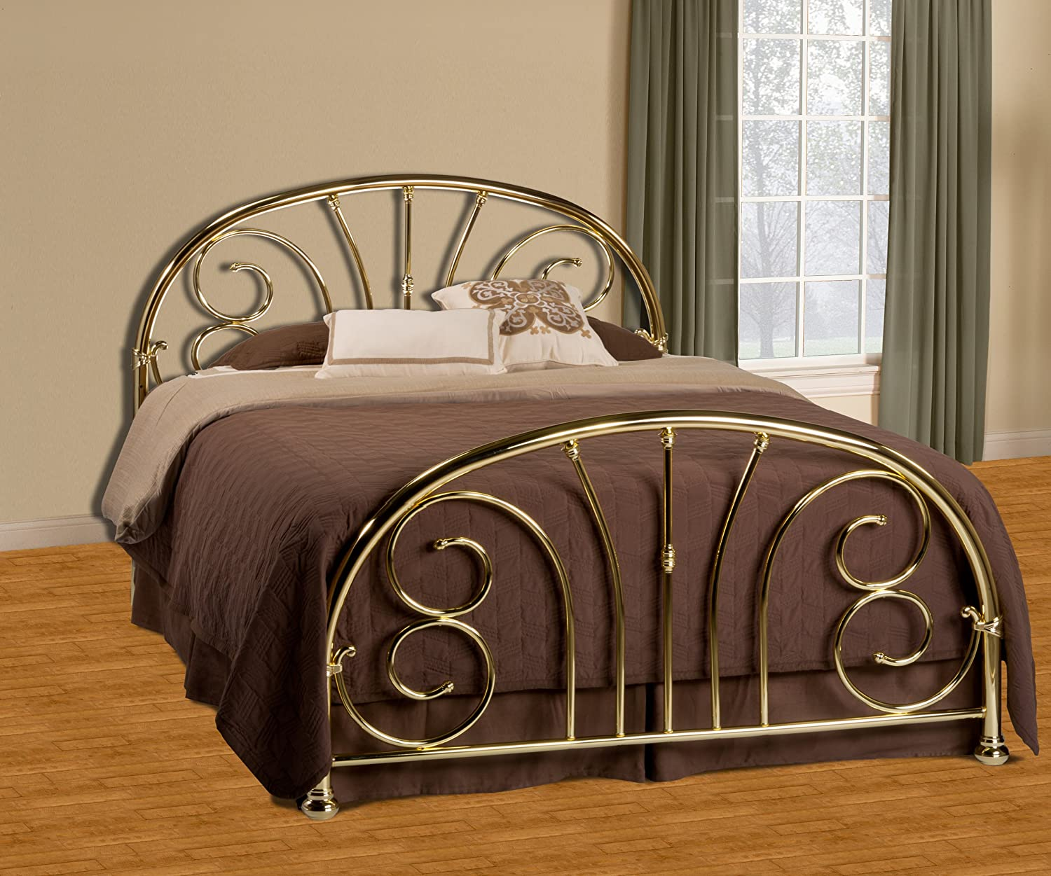 amazoncom hillsdale jackson metal headboard in classic brass queen