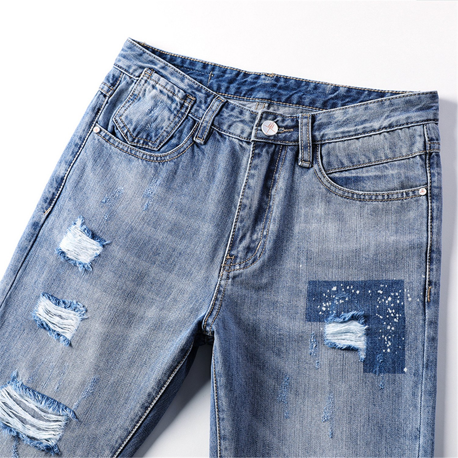 ad49f470ad0 Zcaosma Men s Jeans 2018 Summer Casual Denim Pants Ripped Male Trousers Boys  at Amazon Men s Clothing store