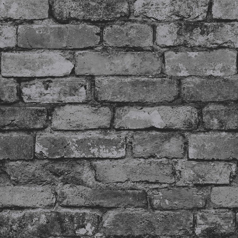 Brewster Fd31284 Rustic Brick Wallpaper Silver Black Amazon Com