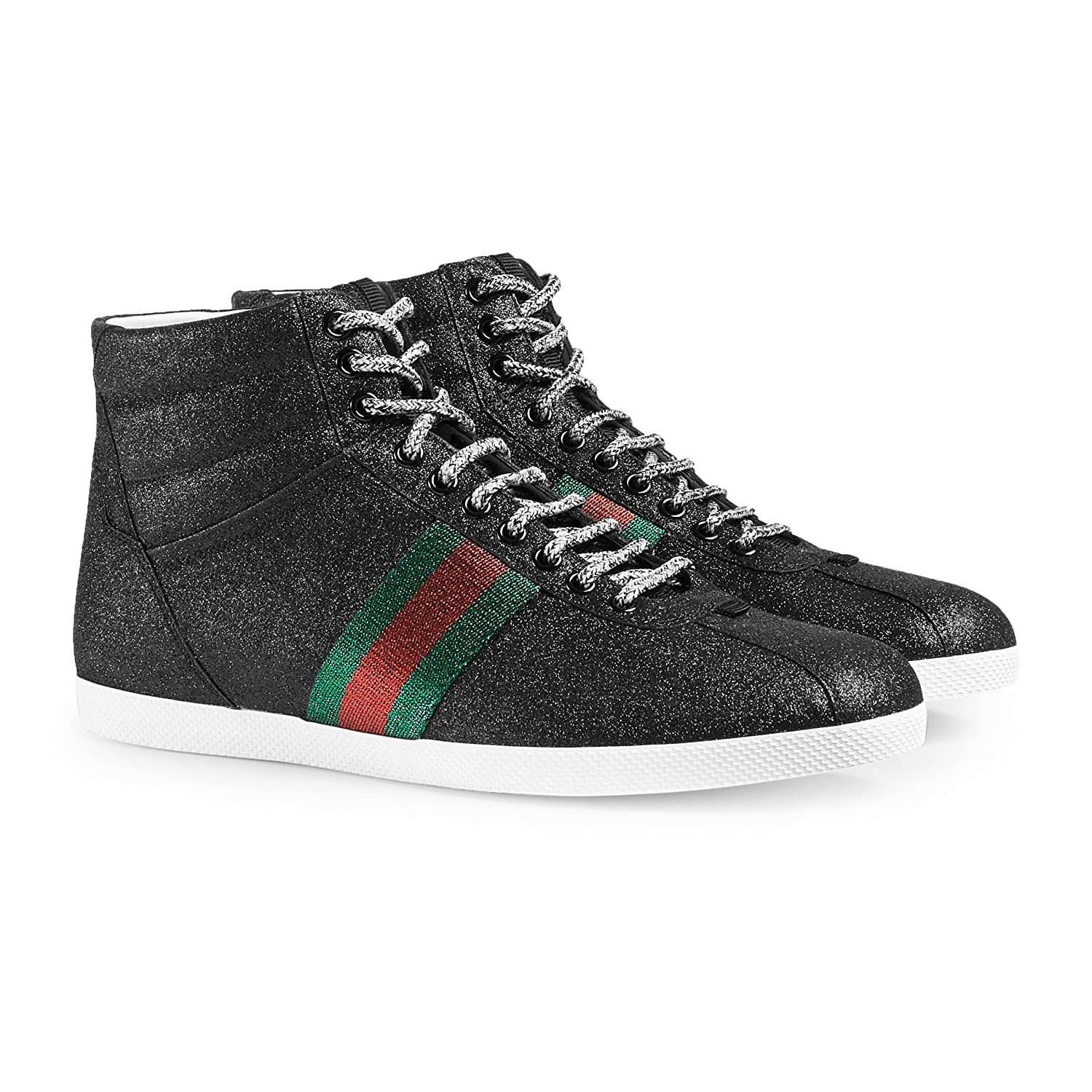 a0e3fdfb2ee001 Gucci gree red green signature web detail. Gucci embossed logo on the back.  Shoe and packaging show Gucci UK sizing information