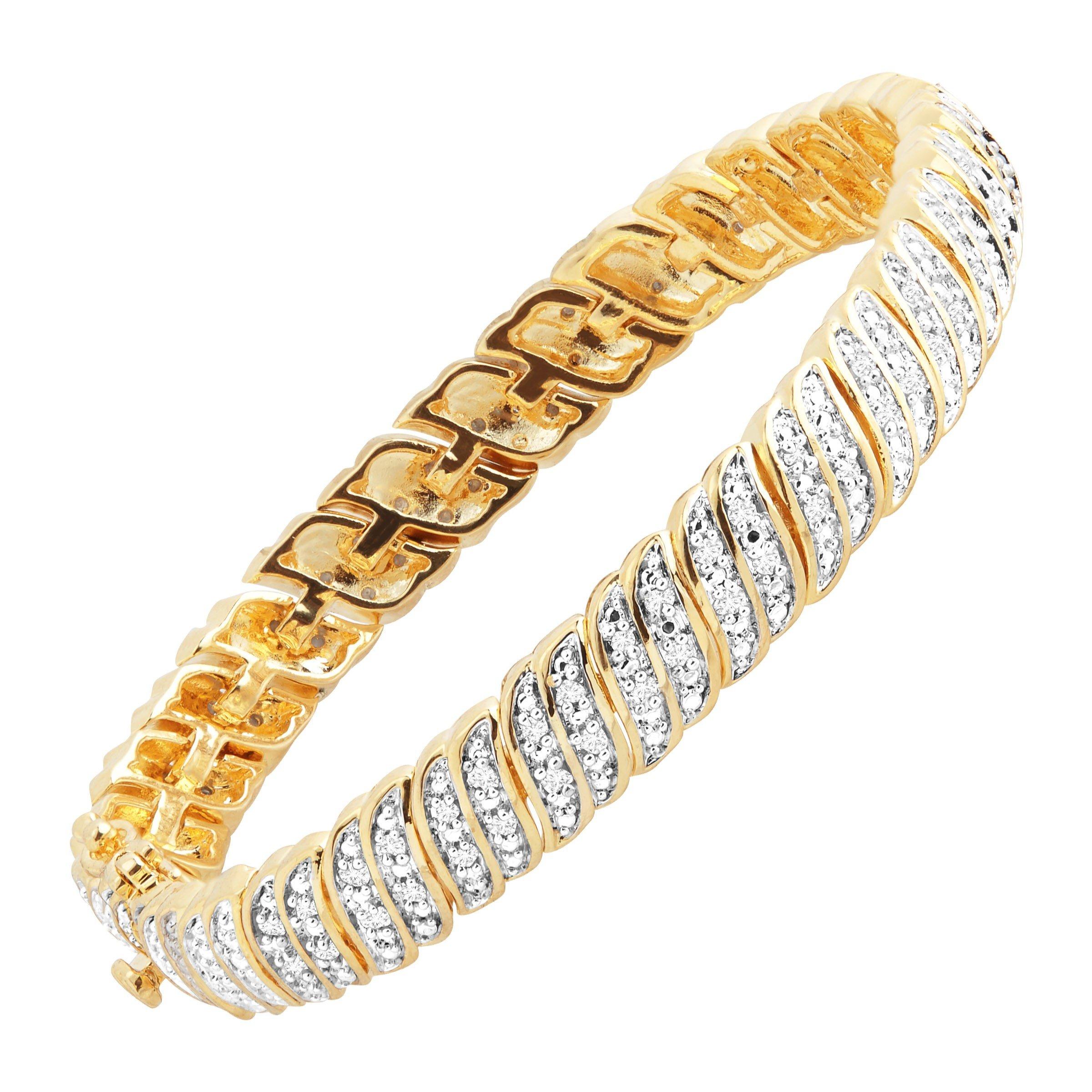 1 ct Diamond 'S' Link Tennis Bracelet in 18K Gold-Plated Brass, 7.25'' by Finecraft