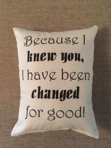 Wicked Quote Pillow Changed For Good Birthday Gift Best Friend Engagement Daughter Decorative Accent Broadway
