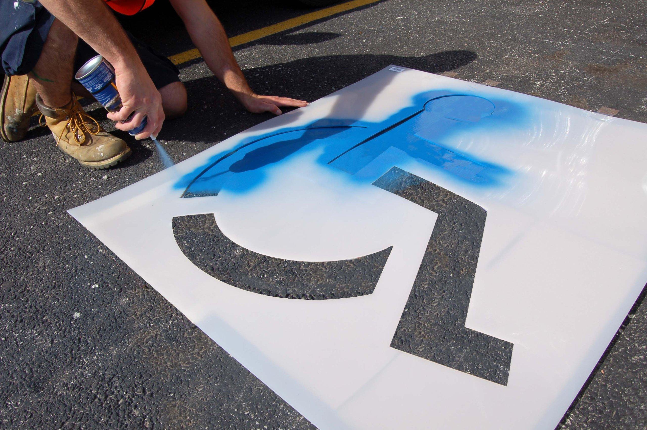 Pavement Stencil, 21 in, Handicap, 1/16