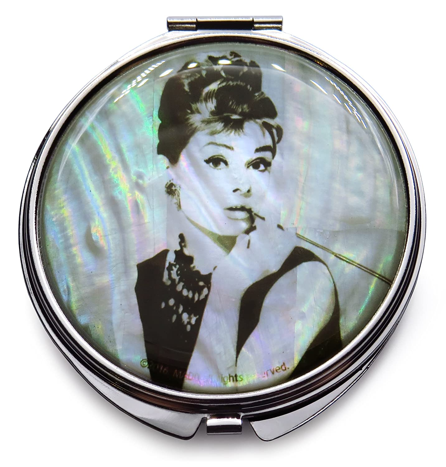 Audrey Hepburn Makeup Mirror Mother of Pearl Metal Dual Compact Folding Magnify White