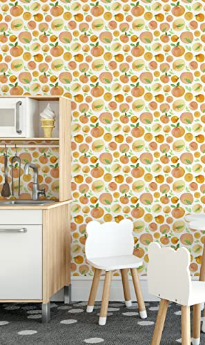 Orange Fresh Fruit Removable Wallpaper Watercolor Self Adhesive Wall Paper Vinyl Great For Kitchen Wall
