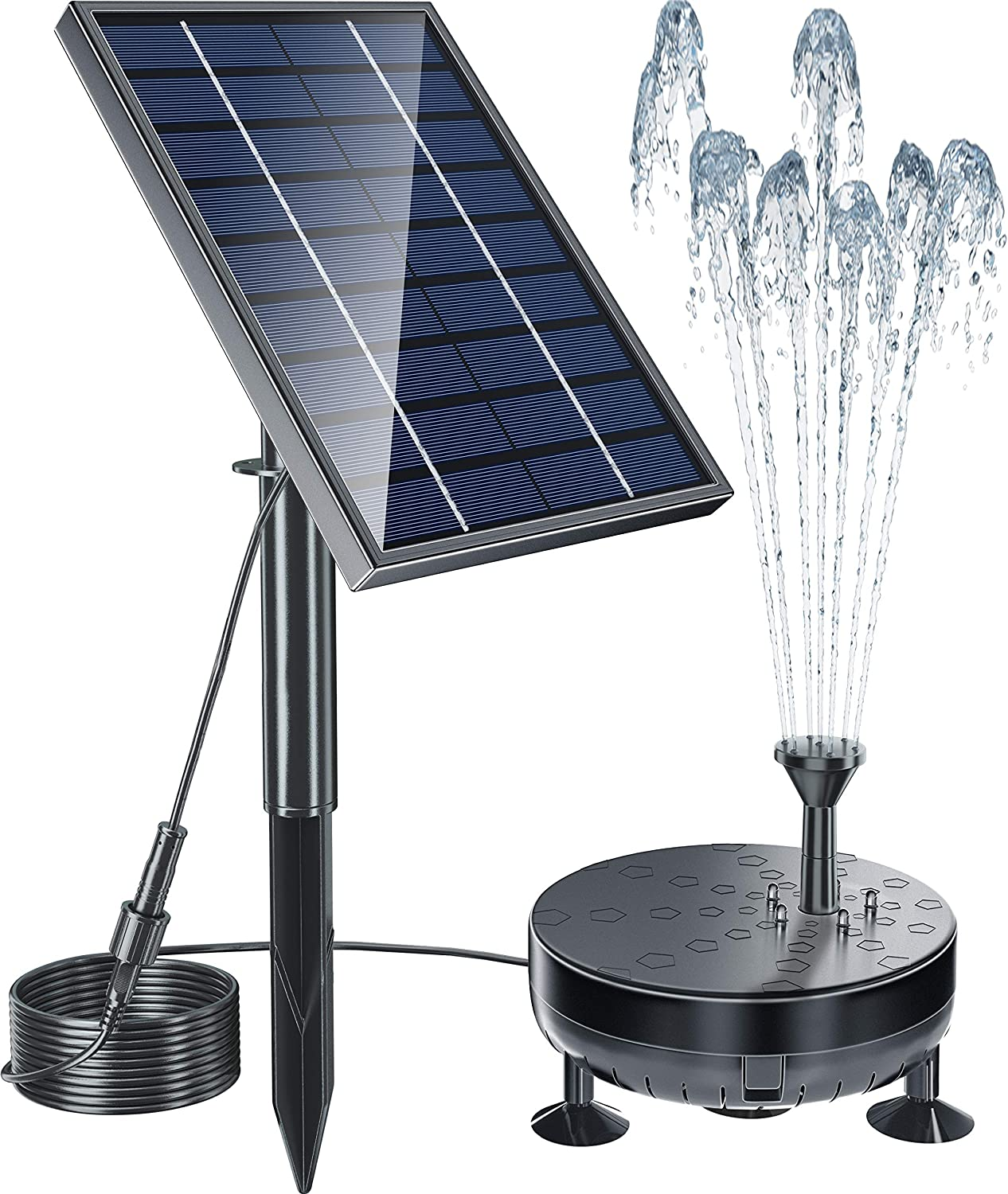 Pendoo Solar Fountain Pump, 8W Solar Powered Water Fountain Pump Built-in 2400mAh Battery with Night Work LED Lights, 6 Water Styles for Garden Pool Bird Bath Outdoors Ponds Solar Water Pump