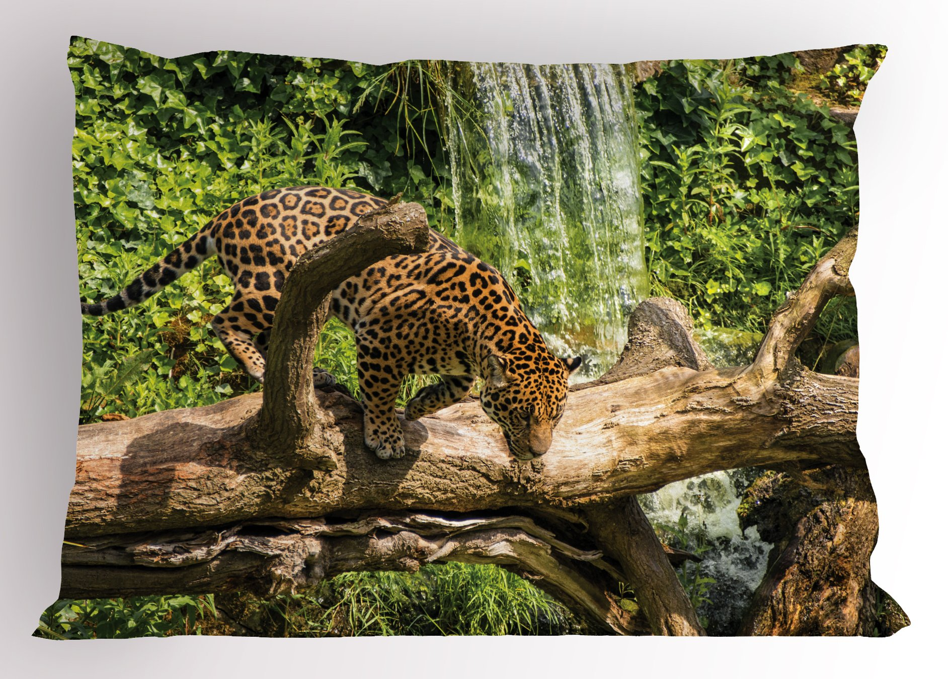 Ambesonne Safari Pillow Sham, Jaguar Cat on Tree Trunk Waterfall Endangered Species Wild Life Fast Animal, Decorative Standard Size Printed Pillowcase, 26 X 20 inches, Green Light Brown