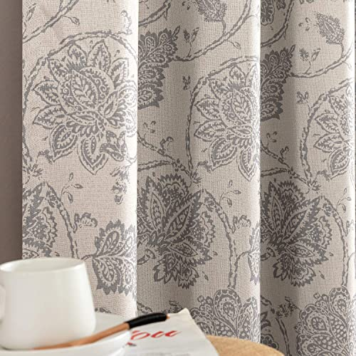 jinchan Floral Scroll Printed Linen Textured Curtains Grommet Top Ikat Flax Textured Medallion Design Jacobean Room Darkening Curtains Retro Living Room Window Covering Grey 95 inch Long Two Panels